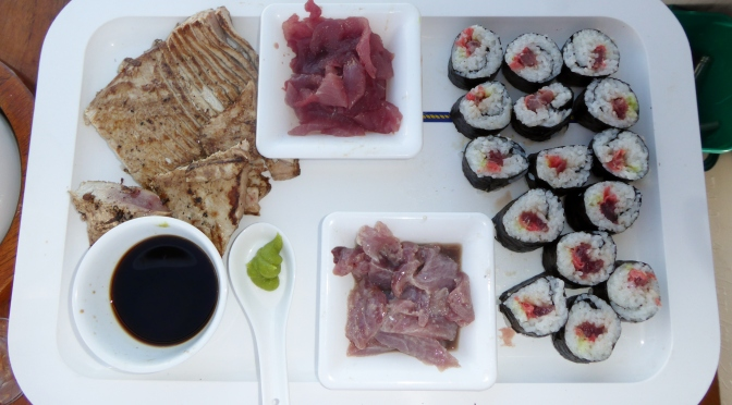 A plate of tuna dishes made with a blue fin tuna caught of the South Australian coast BBQ tuna, sashimi, sushi and ceviche.
