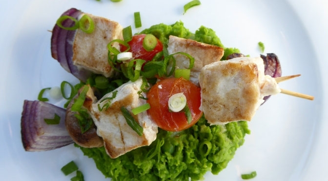 Marlin Skewers on Green Pea Mash