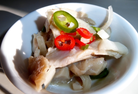 Delicious pickled marlin with chilli.