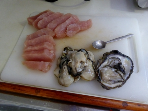 Huge oysters we collected from the rocks.