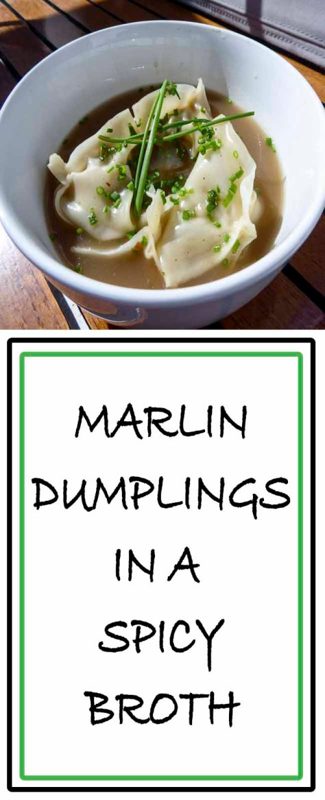 Chinese style dumpling or wantons made with marlin in a spicy broth