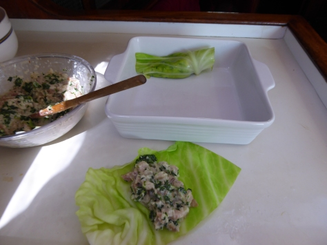 Marlin filled cabbage rolls Palusumi style (fijian)