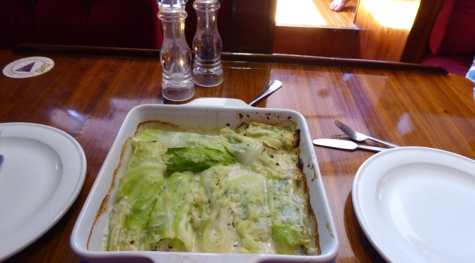 Baked cabbage and marlin with palusumi style flavours