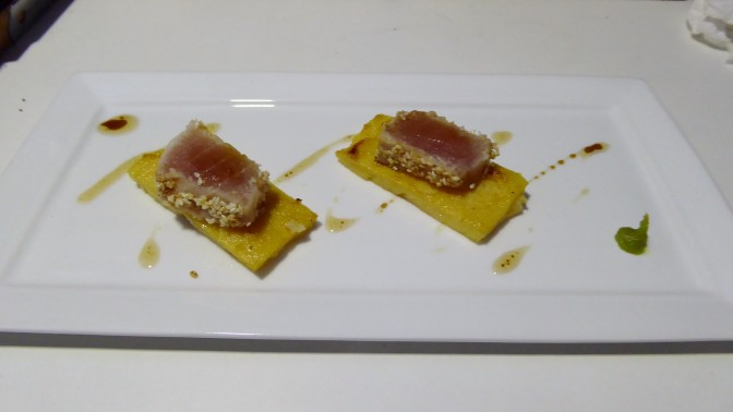 Fresh marlin cured and seared on polenta baked