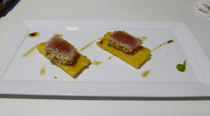 Sesame Crusted Cured Marlin Served on a Baked Polenta Chip