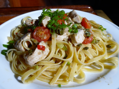 Delicious pasta with marlin, tomato and capers