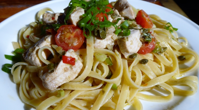 Marlin fettuccine with Cherry Tomatoes and Capers