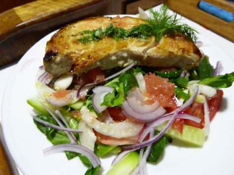 Fresh fruity salad with BBQ marlin fillet