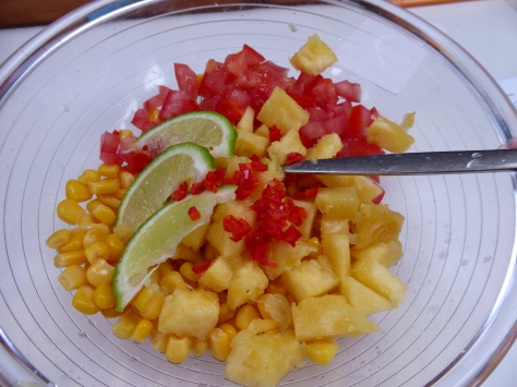 The makings for a corn salsa