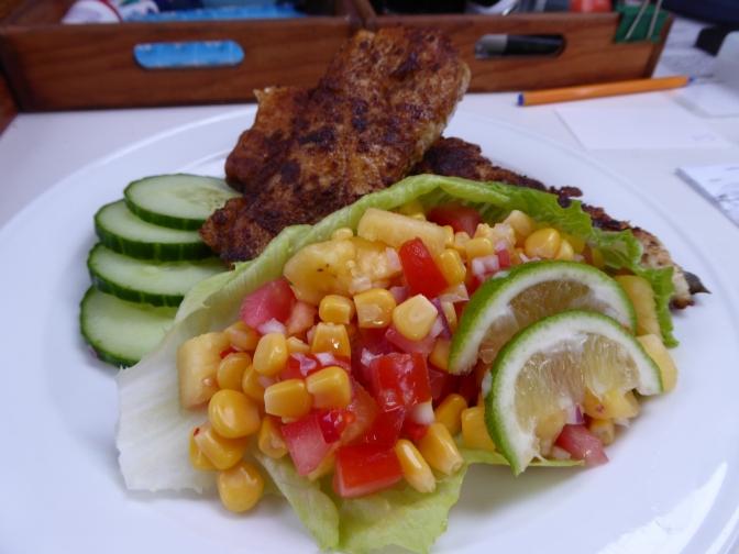 Cajun Mackerel with Pineapple, Tomato and Corn Salad