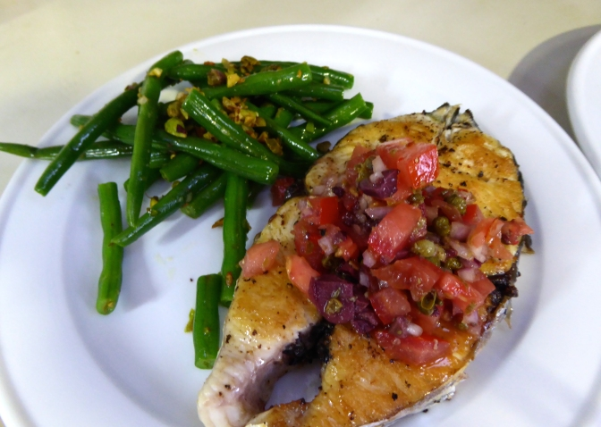 Mackerel Cutlets with Tomato, Olive and Caper Salsa