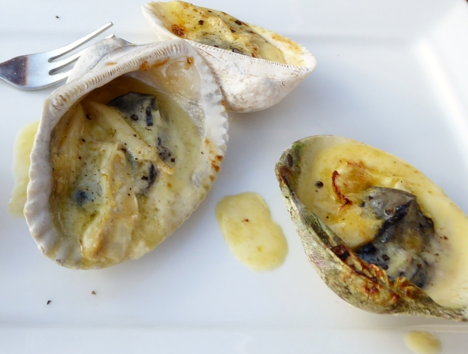 Delicious creamy oysters grilled