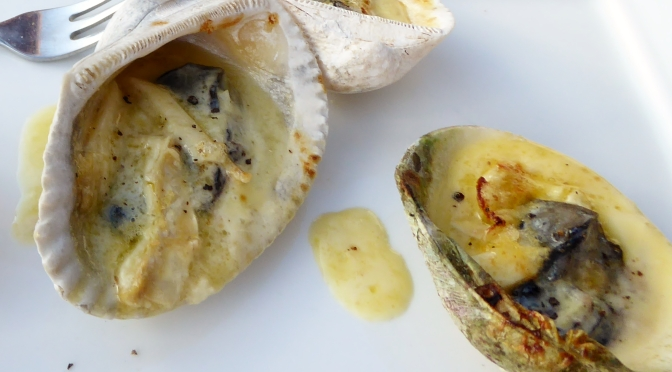 Grilled Garlic Cream Oysters with Camembert