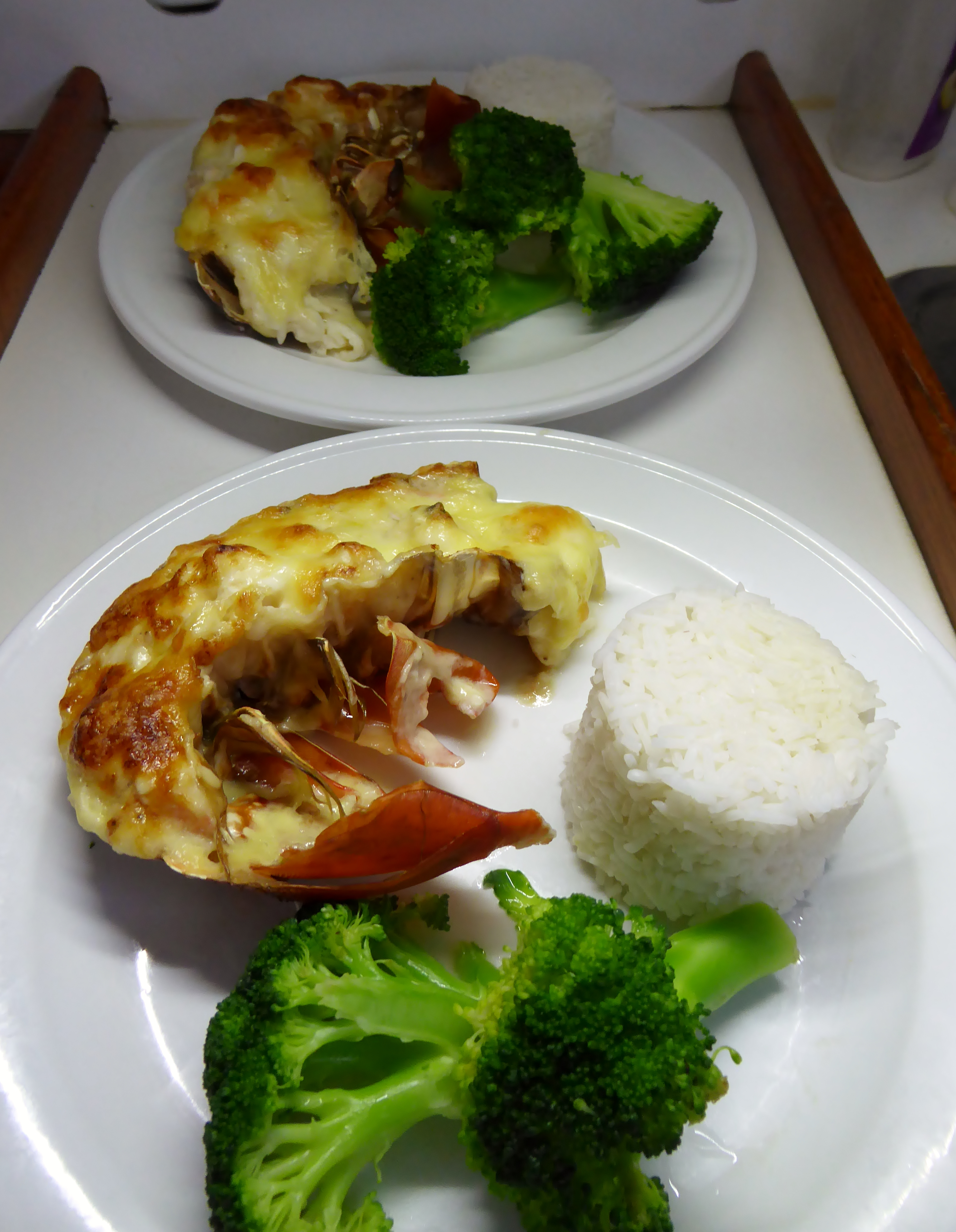 Crayfish Mornay served with steamed basmati rice and brocoli