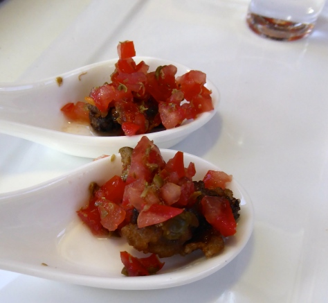 Fried Salt & Pepper Oysters Tomato Caper Salsa