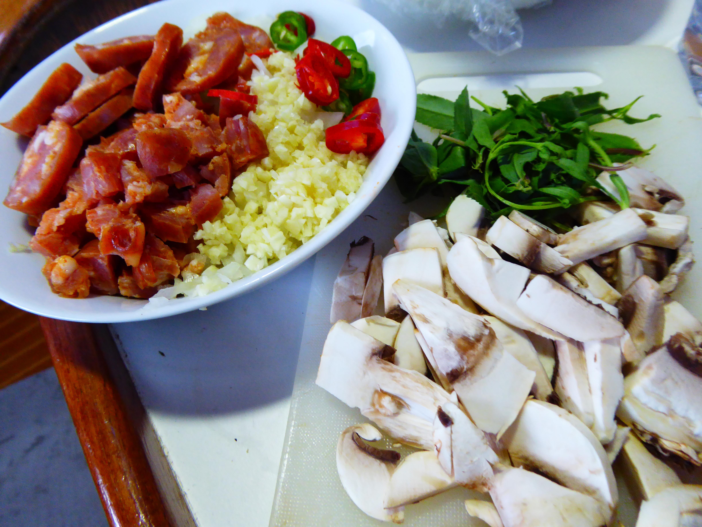 Ingredients for my crayfish risotto, chorizo, garlic, chilli, mushroom