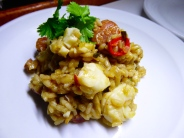 SPICY CRAYFISH RISOTTO made with tarragon, chorizo, mushroom, chilli, garlic and crayfish