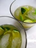 Lime, vodka, ice