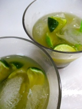 Lime, vodka, ice