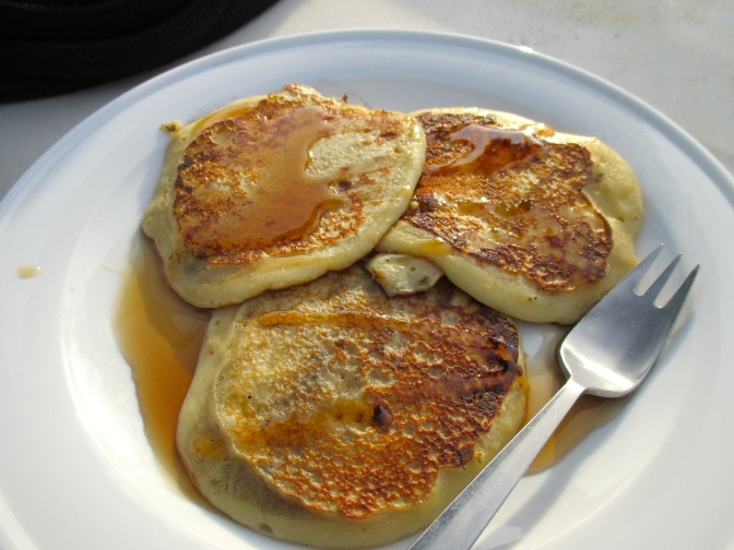 Pancakes and maple syrup... cooked on the BBQ