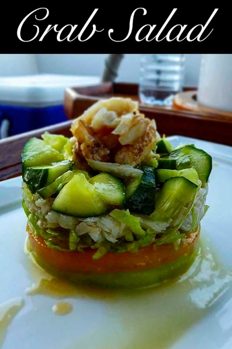 Crab Salad with #melon #lettuce #cucumber #sesameoil #mirin #sweetchilli
