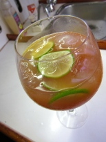 Thorfinn's Punch Cocktail, guava juice, apple juice, lime and vodka