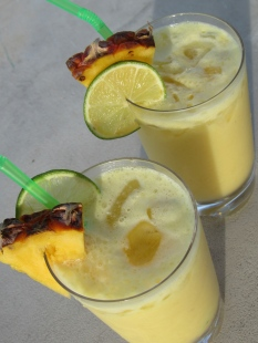 PINA COLADA, fresh pineapple, malibu, white rum, coconut milk, pineapple juice