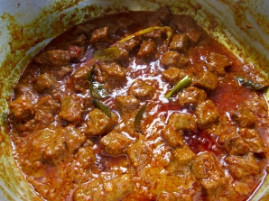 Beef Rendang - the oil separating from the curry.