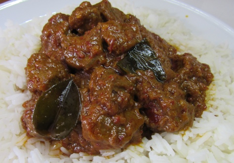 Beef Rendang with coconut milk, chilli and kaffir lime leaves