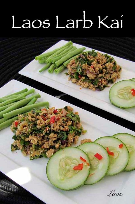 Laos Larb Kai is an Asian style chicken mince salad with herbs. #recipe #chicken #mince #herbs #thai #laos #asian