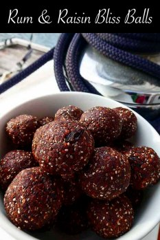 Rum and Raisin Bliss Balls with chia seed, prunes and raisins