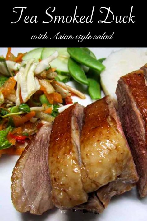 Tea smoked duck with Asian style salad #recipe #duck #salad #smoked #teasmoked