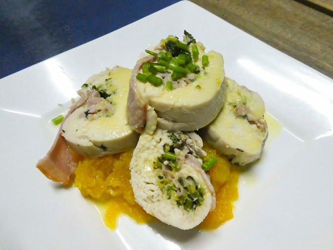 Poached Chicken Breast with Ham, Herbs & Dijon Dressing