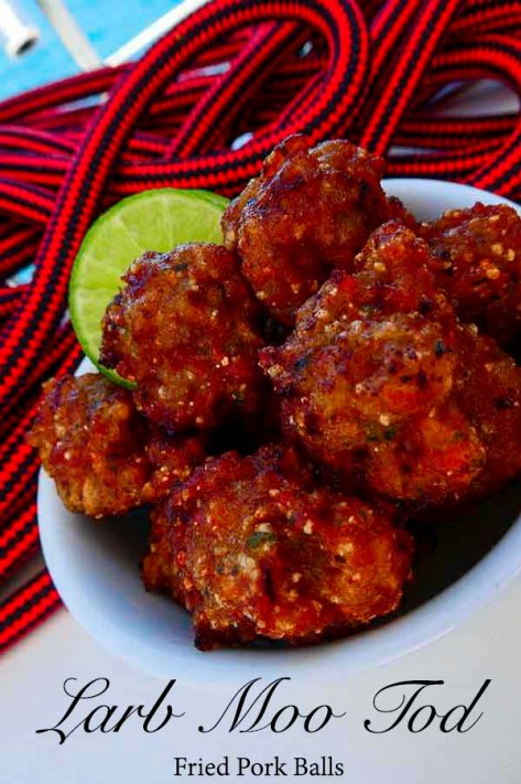 Larb Moo Tod - Thai style fried pork balls - easy to make, savoury snack. Delicious, bursting with flavour and full of texture.