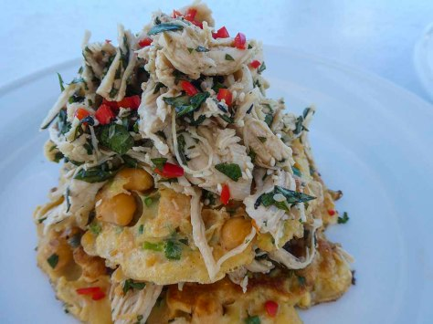 Chickpea fritters with Chicken Salad - simple delicious recipe. chickpeas, chicken, lime, soy, sweet chilli, coriander, mint, sesame oil and sesame seeds