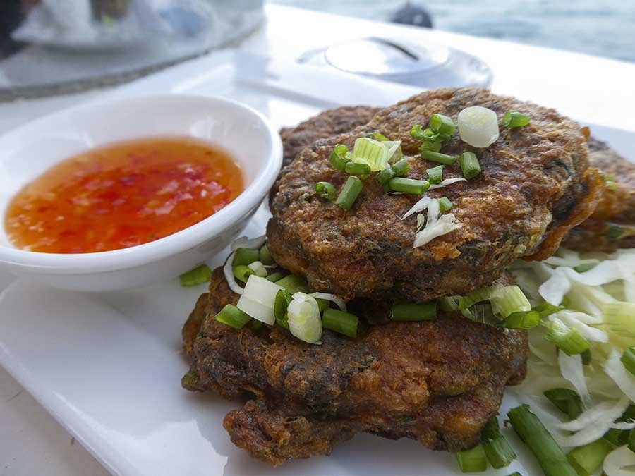 Thai style fish cakes - white fish, rice flour, coriander, egg, fish sauce, red curry paste - easy to ensure gluten-free (choose gluten-free curry paste)