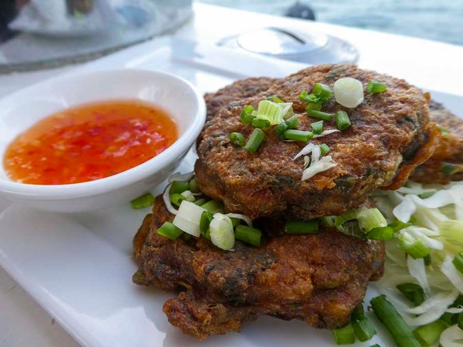 Thai fish cakes - white fish, coriander, red curry paste, fish sauce, rice flour....