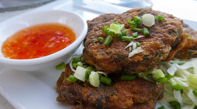 Thai fish cakes - white fish, coriander, red curry paste, fish sauce, rice flour....