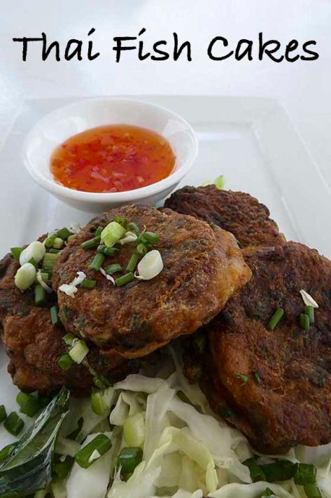 Thai Fish Cakes - white fish, rice flour, coriander, fish sauce, spring onions, beans, red curry paste. #recipe #fish #thai #fritters #chilli