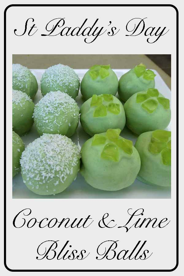 St Patrick's Day bliss ball / Lime and Coconut #blissball #sweets #nobake #lime #coconut #green #chiaseed #fourleafclover #coconutflour #oats