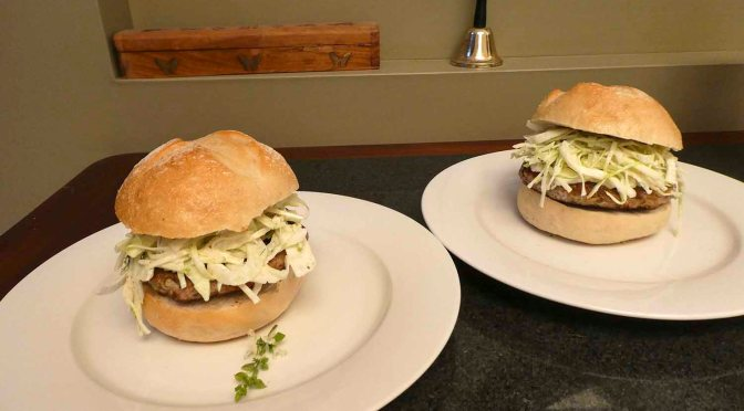 Pork Burgers with fennel and apple slaw